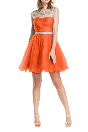 La_mia Braut Anmutig Blau tuell Steine Kurzarm Cocktailkleider Partykleider Promkleider Abiballkleider Mini Orange