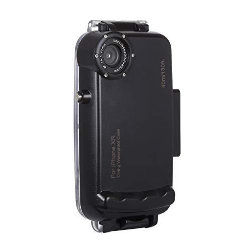 HSKB Camera Wasserdicht Hülle, Schutzhülle Gehäuse Wasserfeste Protective Cove Shell Tauchen 40M Unterwasserkamera Tasche Waterproof Case mit Lanyard für iPhone XR (Schwarz)