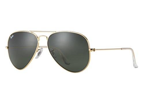 Preisvergleich Produktbild Ray-Ban RB3025 Aviator Sunglasses (58 mm, Gold Metal Frame/Non-Polarized Green G-15 Lens)