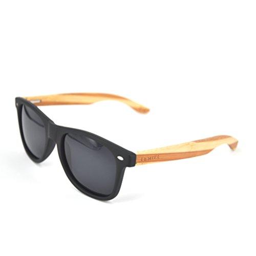 LEMIEL - DIE ÖKO-HOLZBRILLE - Hochwertige Sonnenbrille aus Echtholz - Polarisiert - Damen & Herren - Bambus-Etui - UV 400 - BUY ONE. PLANT ONE. (Bicolor Bamboo - Schwarze Linsen)