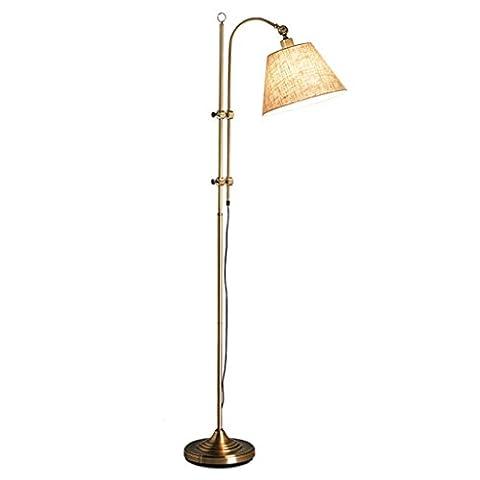 PIGE Lampe de plancher style américain Living Room Sofa Bedroom Étude Rural Lampe de table verticale ( Couleur : Brass )