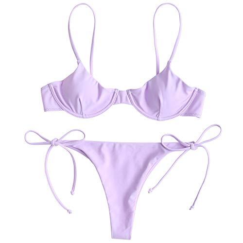 ZAFUL Zweiteiliger Bikini Set mit Krawatte Bügel Balconette & ARO Bottom Swimwear für Damen (Violett, S (EU 36))