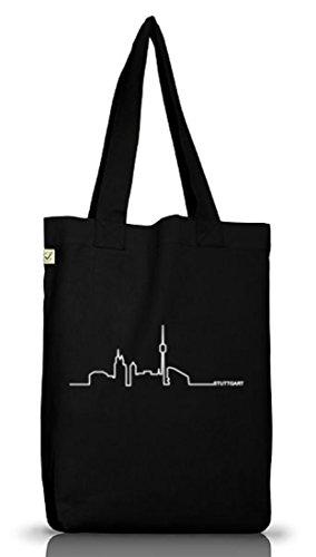 Shirtstreet24, Skyline Stuttgart, Benz City Jutebeutel Stoff Tasche Earth Positivo (taglia Unica) Nero