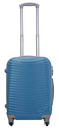 Trolley da cabina 55 cm ideale per EasyJet - Valigia rigida 4 ruote 360° gradi in abs policarbonato antigraffio misura 55X38X22 cm - art. 2030 (Turchese)