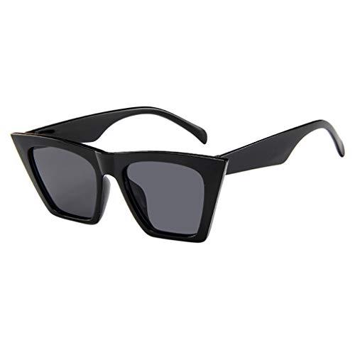 Übergroße Katzenaugen Sonnenbrille Polarisiert für Damen/Dorical Mode Sonnenbrille 100% Schutz vor Schädlichen UVA/UVB Strahlen Vintage Damenbrillen Frauen Sunglasses Travel Eyewear(Schwarz)