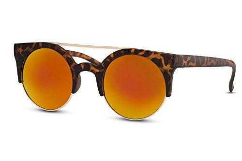 Cheapass Sonnenbrille Runde Gläser Braun Verspiegelt Leo Animal Print Retro (Gläser Print Leopard)