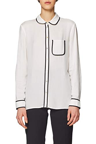 ESPRIT Collection Damen 019EO1F007 Bluse, Weiß (Off White 110), Herstellergröße: 36 -