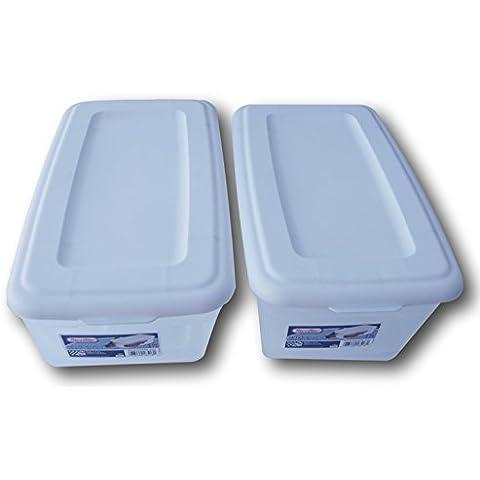Sterilite 6Quart Bin de almacenamiento Caja de zapatos–transparente y blanco–Pack de 2