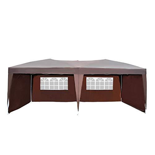Outsunny Tonnelle Barnum Tente de réception Pliante Pop up 3 x 6 m Chocolat + Sac de Transport