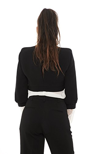 Mangano P15PMNG00060 giacca corta donna bolero tinta unita manica 3/4 Nero