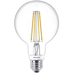 Philips Classic LED regulable blanco cálido G93 Vintage filamento globo luz, claro, 7 W, E27, vidrio, transparente, E27, 7W 240V
