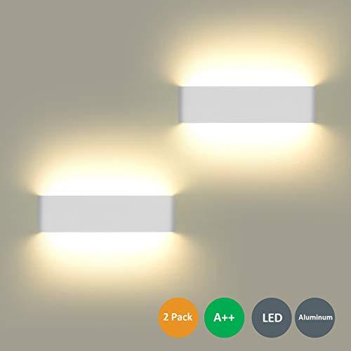Wandleuchte LED Innen 2 Stücke Wandleuchten 12W Wandlampe mehr Hell Moderne Wandbeleuchtung Perfekt für Schlafzimmer, Wohnzimmer, Treppen und Badezimmer Licht,Warmweiß - Licht Leuchte Wandleuchte