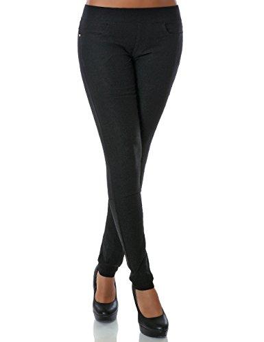 Damen Treggings Hose Skinny (Röhre weitere Farben) No 14028, Farbe:Schwarz;Größe:38 / M (Lange Schwarze Röhre)