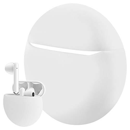 Geekria Coque en Silicone pour Huawei FreeBuds 3, étui de Chargement, étui de Transport de Protection, étui de Transport pour écouteurs sans Fil Huawei FreeBuds3 2019 (Blanc)