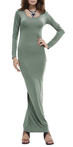 Bigood Robe Longue Femme Manche Longue Col Rond Robes de Cocktail Soirée Casual Elégant Vert