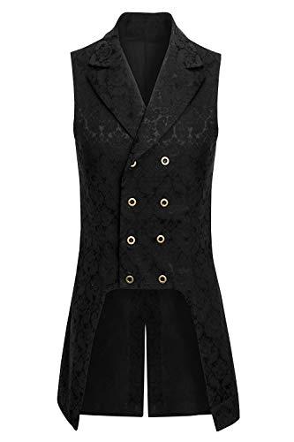 Pxmoda Herren Frack & Mantel Steampunk Gothic Jacke Vintage Viktorianischen Cosplay Kostüm Smoking Jacke Uniform, Mittelalter Kleidung Ärmellos Zweireiher Weste Jacke Waistcoat, Frack & Waffenrock