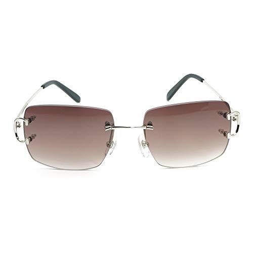LKVNHP Neue Hochwertige Ovale Sonnenbrille Männer Brillengestell Für Frauen Trendy Randlose Decor Sonnenbrille Brillen Gold Brillengestell Dunkelbraun Quadrat