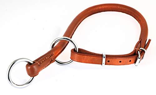 Monkimau Leder Halsband Hund Zugstopp Hunde-Halsband rund einstellbar braun (M 37-43 cm)