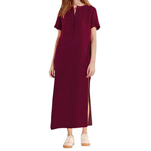 QIMANZI Kleider Damen Sommer KurzarmV-Ausschnitt Jahrgang Bettwäsche aus Baumwolle Beiläufig Lange Maxikleid(Wein,XL) - Multi-striped Kleid