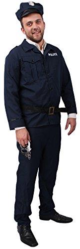 Polizist-Kostüm Herren Größe 50/52 dunkel-blau | Polizei-Kostüm ~ Shirt, Hose, Gürtel & Mütze ~ Polizei-Uniform / Ordnungshüter / Bulle / Cop 4-Teiler Karnevals-Kostüm ~ Police Officer (Kostüm Police Shirt)