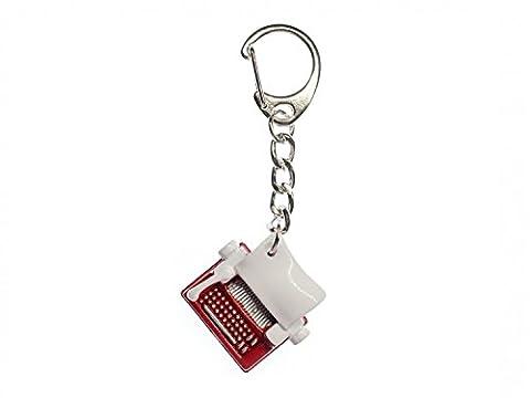 Typewriter Key Chain Miniblings Pendant Machine Red White