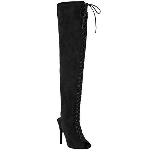 Fashion thirsty sexy, da donna sopra al ginocchio aderenti, alti con lacci a spillo tacchi stivali numero - scamosciato nero, 36