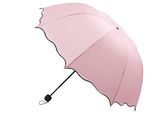 Dome Sonnenschirm sun-rain Regenschirm, dreifach zusammenklappbar gerüschte UV Sonnenschirm (Rosa) (Inc Acefast)