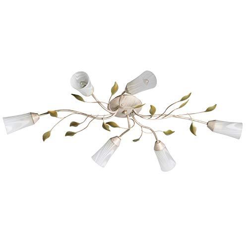 DeMarkt 242015306 Lampadario da Soffitto Basso Stile Floreale in Metallo Colore Beige con Pennellature Oro Verde Vetro Bianco 6 x 60W E14 Escl