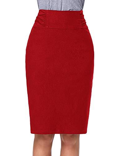 ro Formelle Kleidung Knielangen Röhrenrock Rot (KK268-5) XX-Large ()