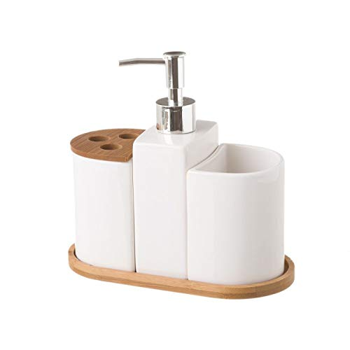 Hogar y Mas Juego de Baño de 3 Piezas, realizado en Cerámica y Bambú, de Color Blanco. Diseño Limpio, Con Estilo Minimalista (De Spielen 3 Juego)