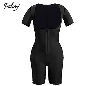 05114251e ... Palicy Sweat Neoprene Shapewear Bodysuit Women Full Body Shaper Short  Sleeve Slim