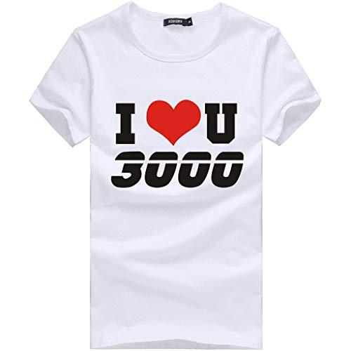 rt Herren Brief I Love You Druck Sommer Basic Sweatshirt Slim Fit Kurzarm Tee Fitness Tops ()
