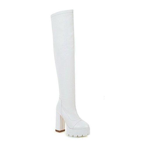 AllhqFashion Damen Ziehen auf Rund Zehe Hoher Absatz PU Leder Hoch-Spitze Stiefel, Weiß, 38