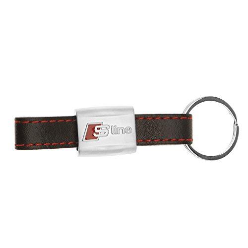 S-Line Schlüsselanhänger Leder SCHLÜSSELBUND Für AUDI A1 A3 A4 A5 A6 A8 Schwarz