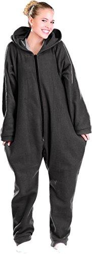 PEARL basic Jumpsuit aus flauschigem Fleece, schwarz, Größe L
