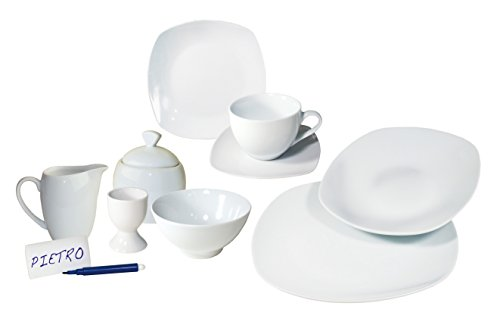 Arte Viva Kaffee- und Tafelservice TANGOLO, 51-teilig, Porzellan, eckig, weiß, design I love