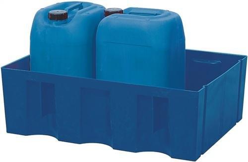 asecos PE-Auffangwanne, mit verz. Gitterrost, Beständigkeit gegen Gefahrstoffe, 60 L, Traglast 150 kg/qm