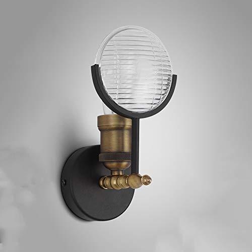 Wylolik Amerikanische Industrie Kreative Beleuchtung Schwarz Basis Wandleuchte Glas Lampenschirm E27 Gold Finish Wandleuchte Bar Dekoration Lampe Schlafzimmer Nachttischlampe LOFT Restaurant Wandleuch -