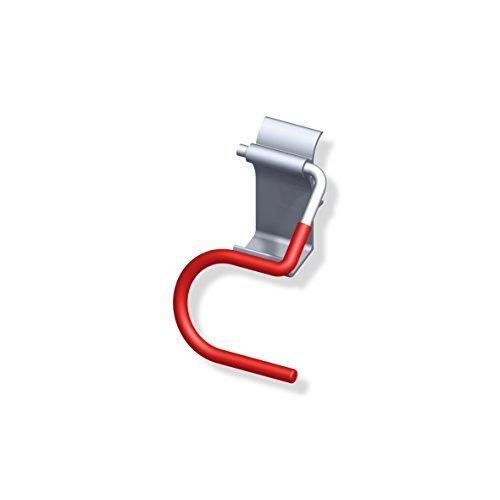 Skihalter Gerätehalter Wandhalter für Wandprofil | Tragkraft 10 kg | Stahl blank - Wandhaken rot gummiert | Baubeschläge von GedoTec®