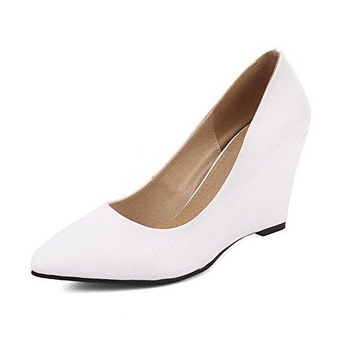 VogueZone009 Femme Fermeture D'Orteil Pointu Tire Cuir de Bœuf Couleur Unie à Talon Haut Chaussures Légeres Blanc