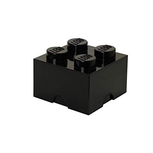 LEGO Aufbewahrungsstein, 4 Noppen, Stapelbare Aufbewahrungsbox, 5,7 l, schwarz