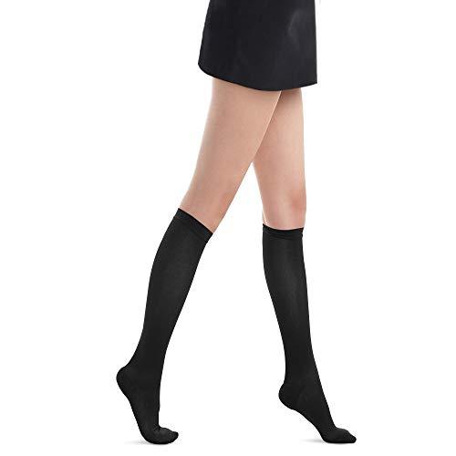 Fytto 1020 Mi-Bas Opaques de Contention Classe 2, Compression Médicale Graduée 15-20mmHg, Chaussettes de Maintien, Hauteur Genou, Femme, Modèle Classique, Noir, L