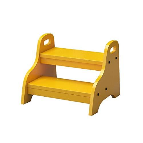 XB-ZDT Step Hocker, Holz 2-Stufen-Hocker Ladder Geeignet Für Kinder Badezimmer Praktische Kleine Hocker Kind Töpfchen Training Portable Indoor Flower Stand (Color : Yellow) -