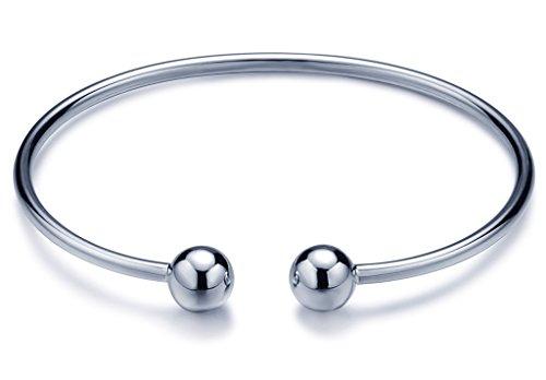 Unendlich U Fashion Doppel Kugeln Bälle Mädchen Charm-Armband 925 Sterling Silber Verstellbar Armreif Armschmuck, Silber (Stil Doppel-kugel -)