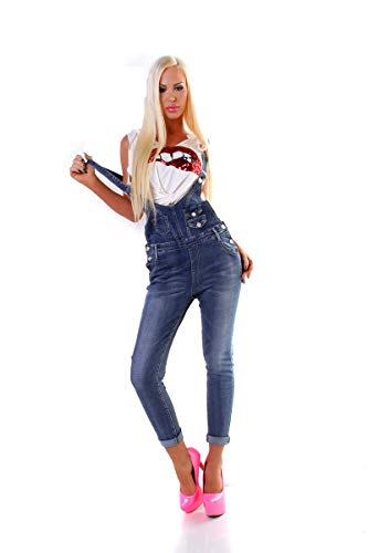 OSAB-Fashion 11446 Damen Latz Jeans Hose Jeans Träger Slimfit Overall Knöchellang Latzjeans Slimfit -