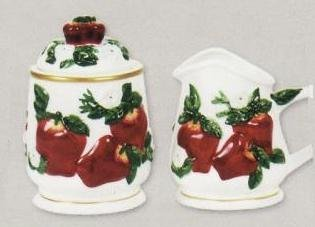 APPLE 3-D Creamer & Sugar Jar Set Apples *NEW* by KMC Apple Creamer