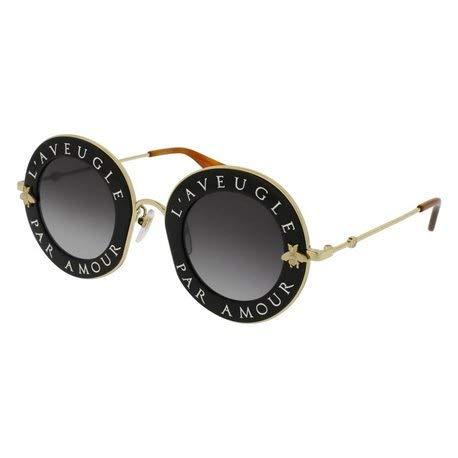 Gucci gg0113s 001, occhiali da sole donna, nero (black/grey), 44