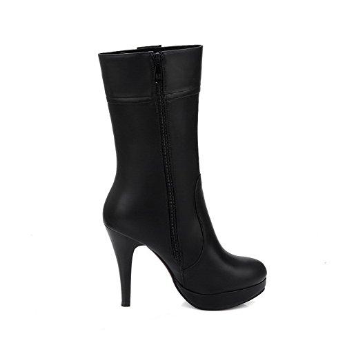 AgooLar Damen Weiches Material Reißverschluss Rund Zehe Stiletto Mitte-Spitze Stiefel, Braun, 39