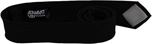 ADAMANT® Schwarze Designer Krawatte 5cm schmal - TOPQUALITÄT - Moderne Schwarze Krawatte / Schlips für Business und Alltag - Schwarz uni (Seide Krawatte Schwarze)