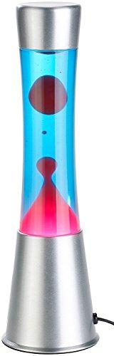 Lunartec Lava Leuchte: Lavalampe mit blauer Flüssigkeit & rotem Wachs, Glas & Aluminium (Magma Lampe)